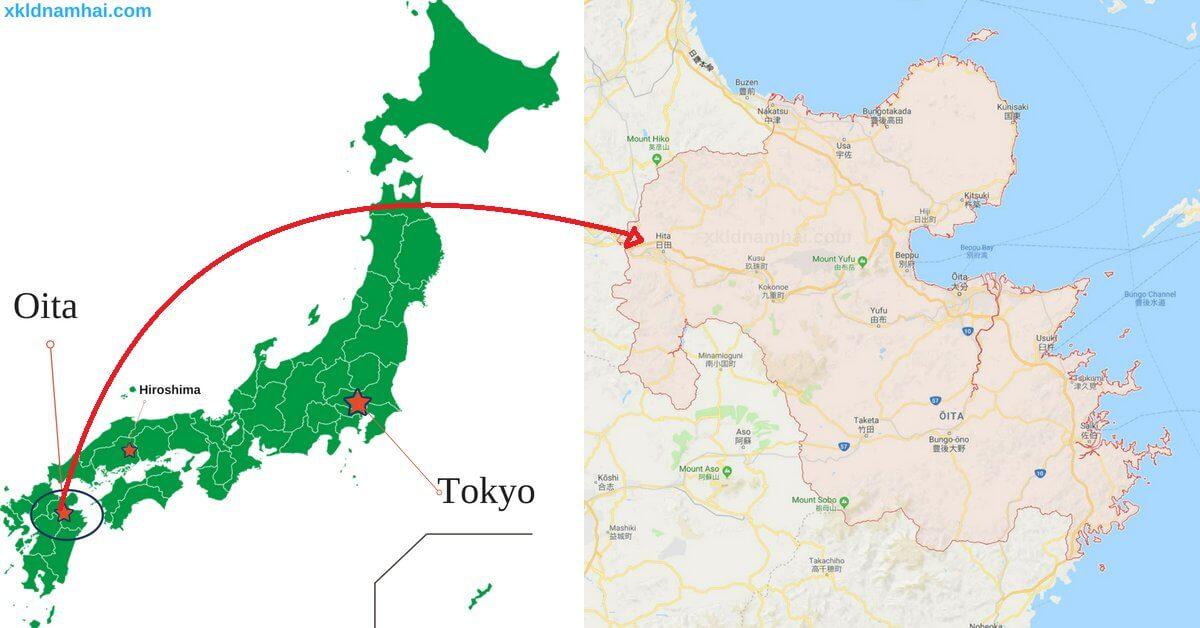 Vị trí địa lý tỉnh Oita