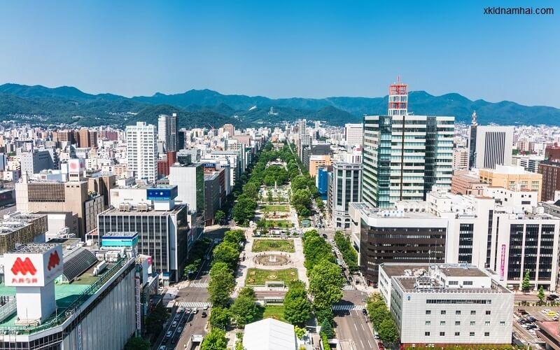 Thành phố sapporo trên đảo hokkaido