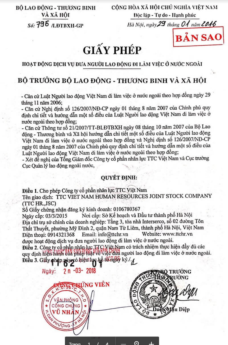 Giấy phép hoạt động xuất khẩu lao động công ty TTC Việt Nam